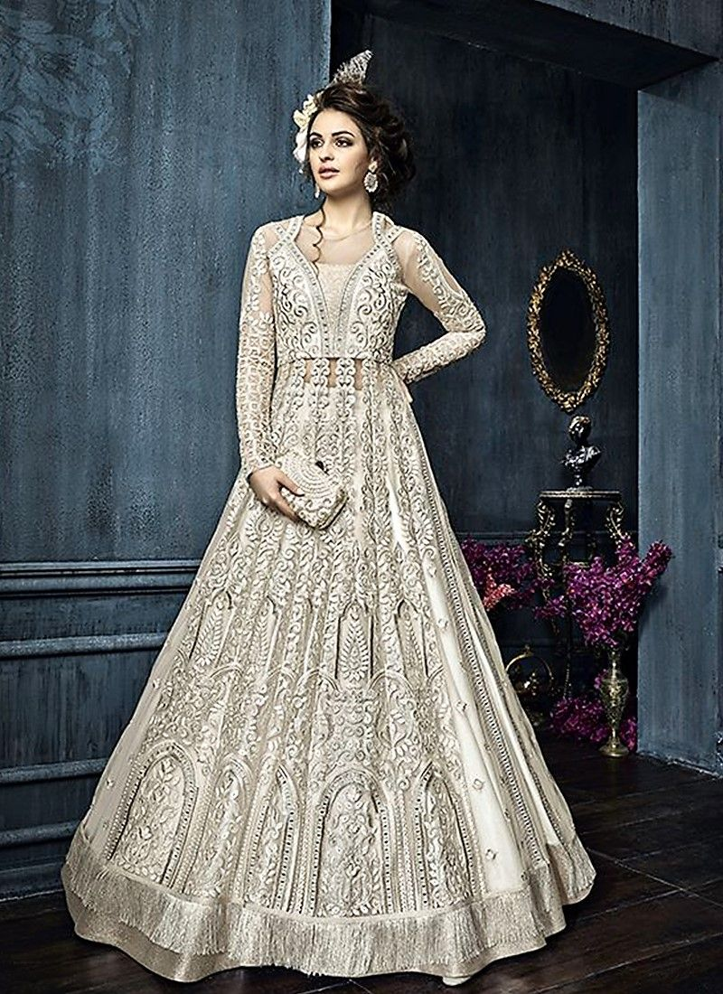 6d0474a2b409e Off-White Net Satin Anarkali Style Sharara Indian Party Wear, Party Wear  Lehenga,