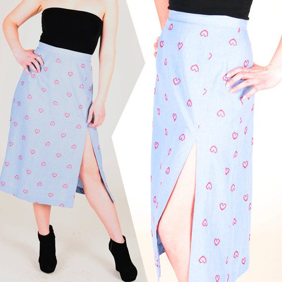 Vintage Long Light Blue Maxi Skirt w/ Slit & Heart Pattern. For Sale Here: http://j.mp/QUj1fl. Shop Vintage! ♥ pink Monday ------------------------------------------------  #pinkmonday #vintage #retro #fashion #style #womensfashion #hipster #etsy #1980s #1970s #1960s #90s #80s #70s #maxiskirt #maxifashions #heart #redheart #embroidery #embroidered #blackwedges #wedges #tubetop #denim #lightblue #blue #blueskirt  #patternskirt #printskirt