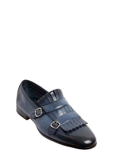 332105d7ac6  613 SANTONI - FRINGED LEATHER LOAFERS BLUE - SOLD by LUISAVIAROMA -  affiliate Decorative monk straps