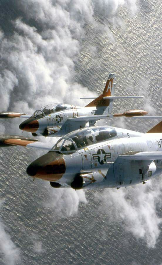 USMC Tigers of training squadron fly in formation in the T-2C Buckeyes