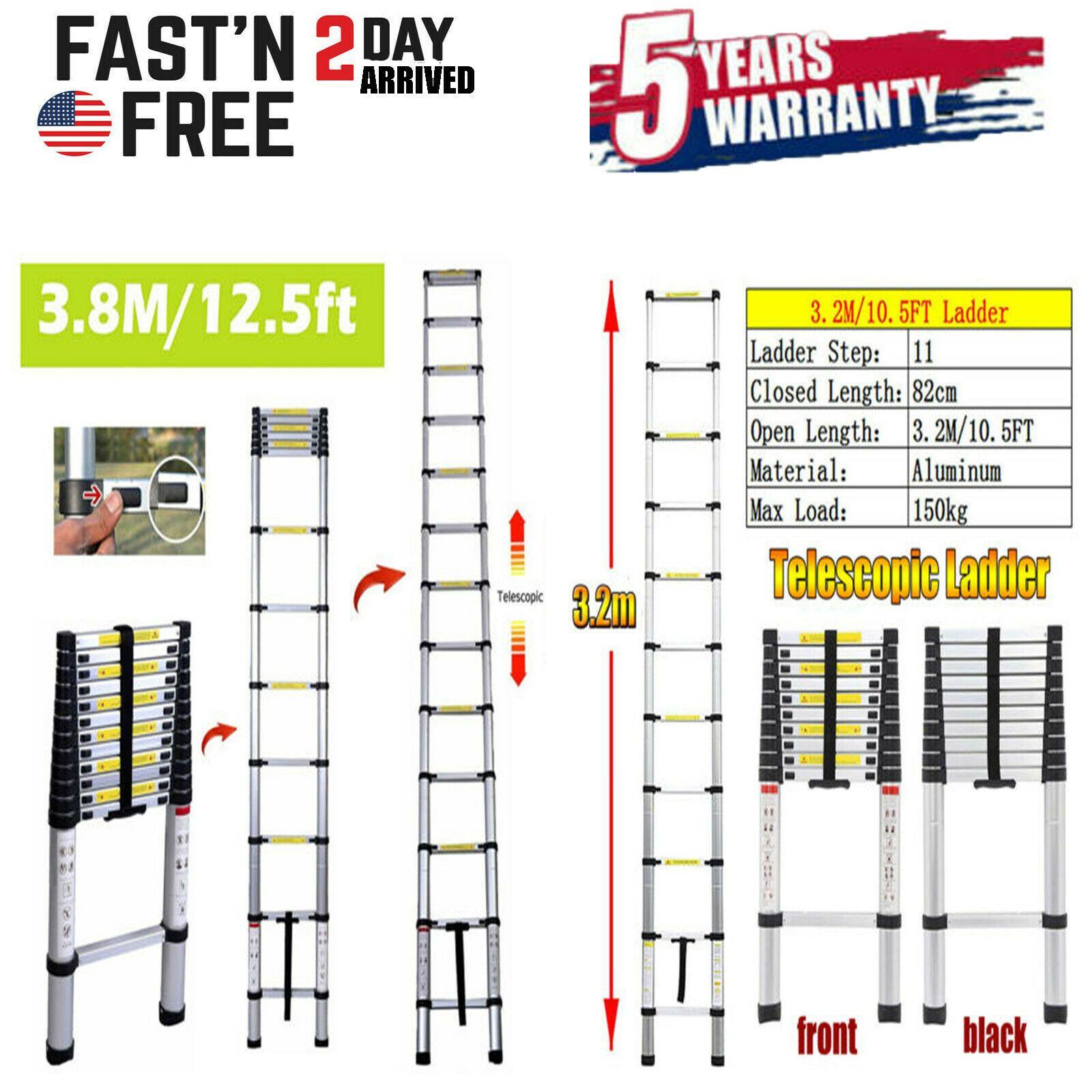 3 2m 3 8m Multi Purpose Aluminum Extendable Telescopic Steps Ladder En131 Rivet In 2020 Telescopic Ladder Step Ladders Solar Spot Lights