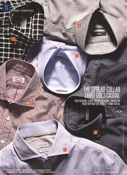 Hamilton Shirts included in a Details magazine round up of spread collars to be worn open.