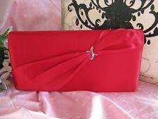 New Red Satin Wedding Bride Clutch Purse Bridesmaid Evening Bag w/ Silver Accent