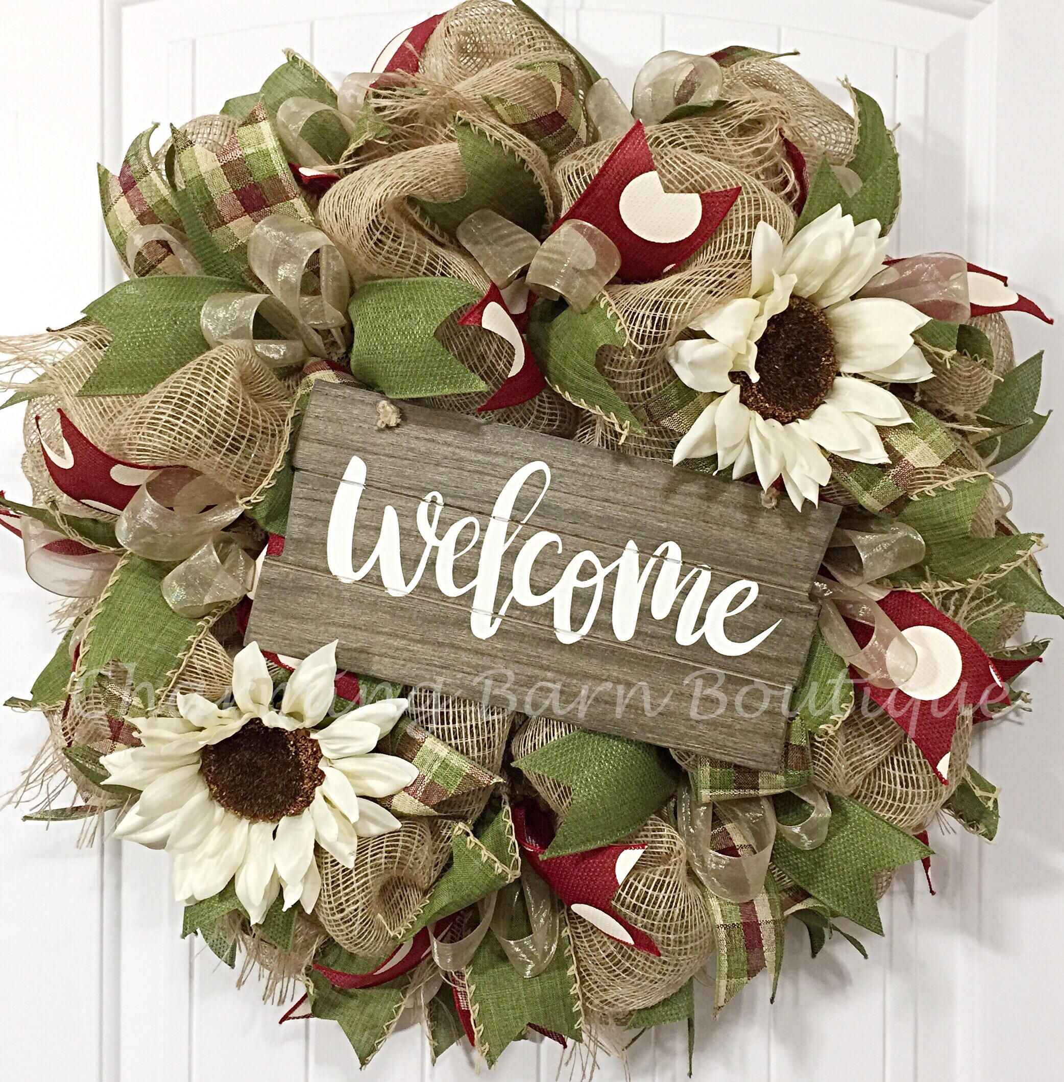 Welcome wreath year round wreath fall wreath sunflower wreath shop for front door wreaths on etsy the place to express your creativity through the buying and selling of handmade and vintage goods rubansaba