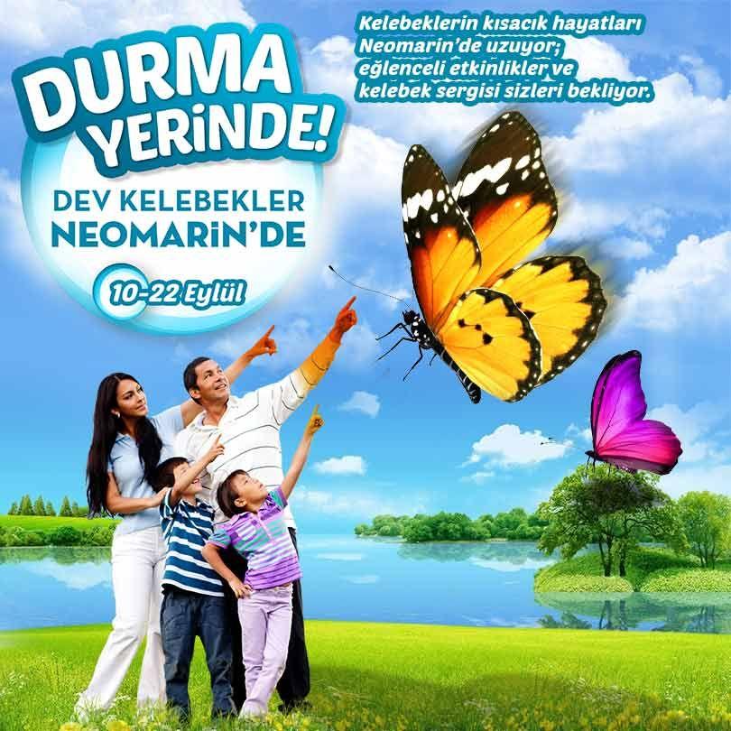 Kelebeklerin kısacık hayatları #Neomarin'de uzuyor; eğlenceli etkinlikler ve kelebek sergisi Neomarin'de sizleri bekliyor.