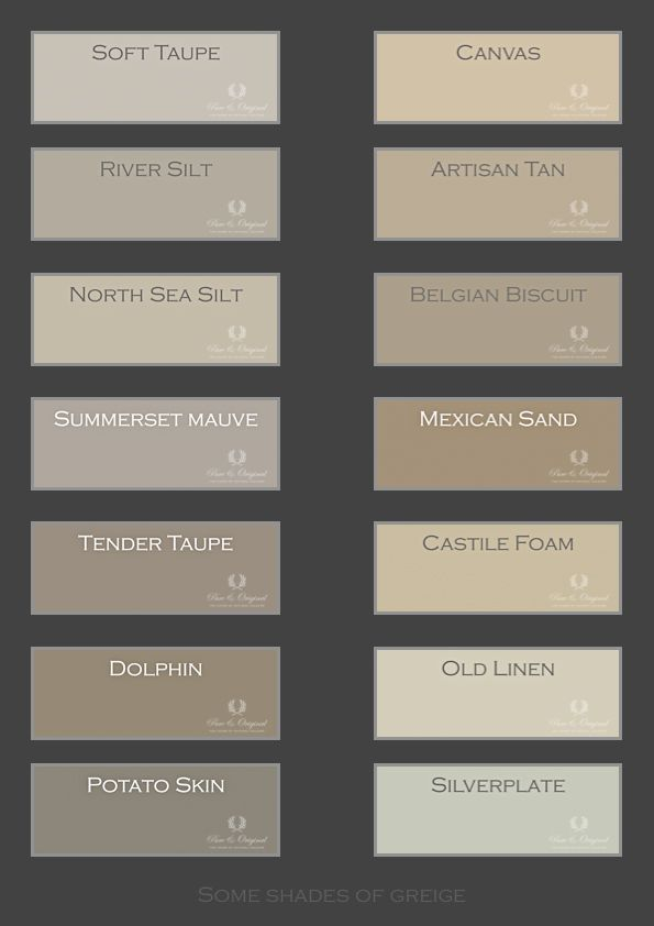 Colors of Greige Just a small selection of our colors for this - wandfarbe mischen beige