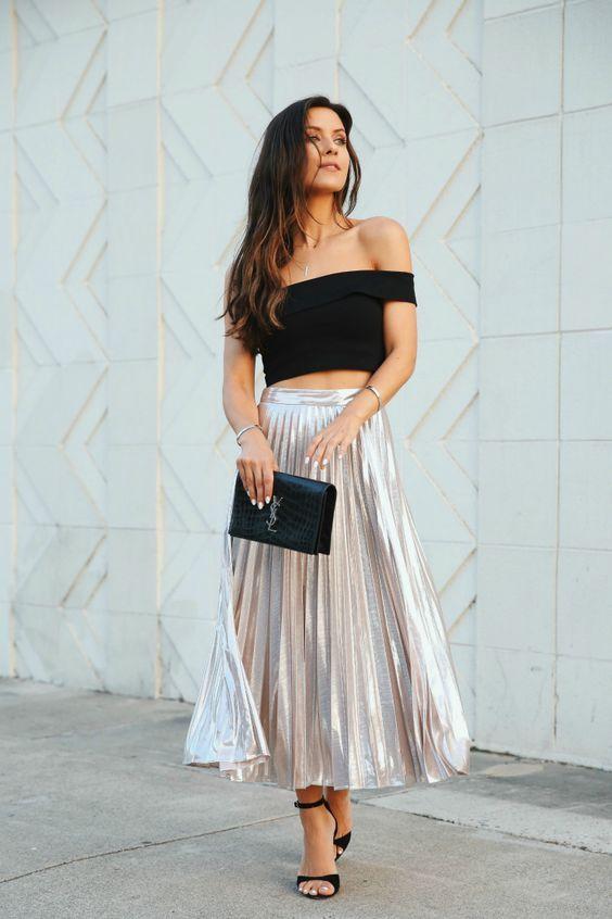 e6e363b41 Beige Metallic Midi Pleated Skirt | Shop on SHEISREBEL.COM #sheisrebel # fashion #style #womenfashion #onlineshopping #shopthelook #ootdfashion #ootd  ...
