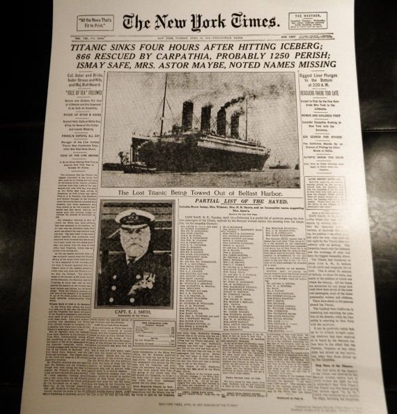 Titanic Sinks Four Hours After Hitting Iceberg April 161912 Etsy Titanic Poster On New York Times