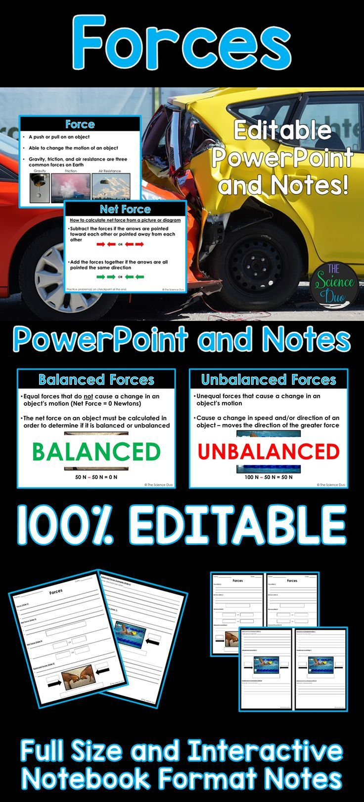 Net Force PowerPoint and Notes Force, motion, Middle