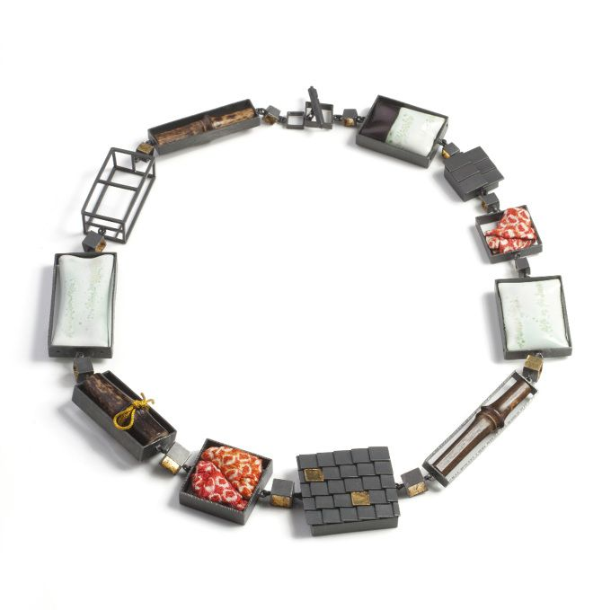 #56 Objection - Mariko Sumioka, hako necklace, oxidized silver, enamel on copper, bamboo, gold leaf, kuemboo, antique kimono