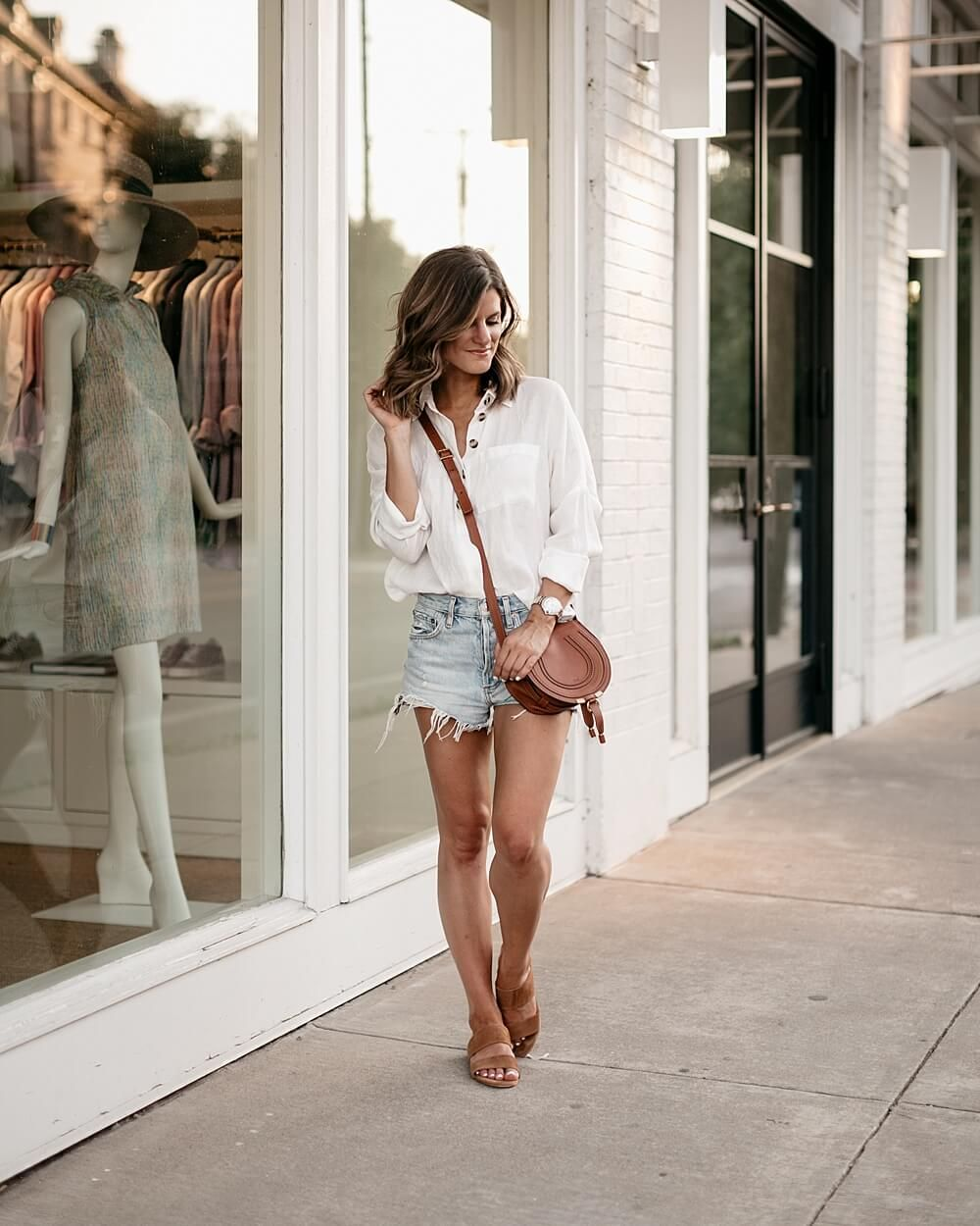 bc647ac65c White button-down shirt+denim shorts+brown crossbody-bag+strappy sanals.  Summer Casual Outfit 2018