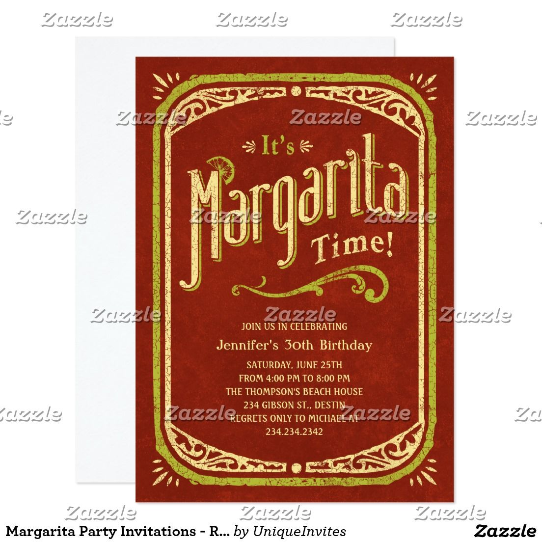 Margarita Party Invitations - Red Fiesta Party | Fiesta party, Party ...