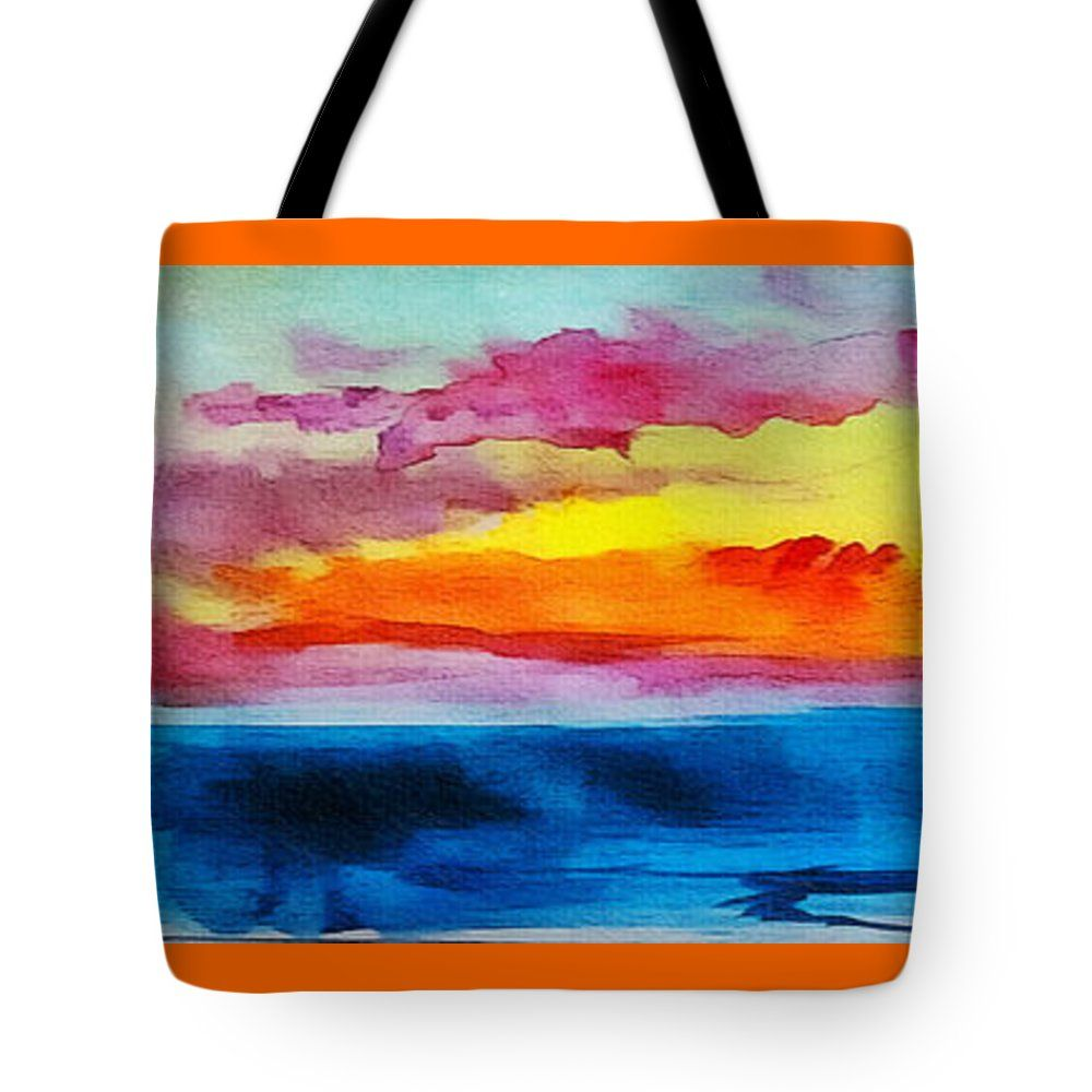 """Expressive Sunrise Seascape Watercolor Painting C2 Tote Bag 18"""" x 18"""" by Ricardos Creations"""