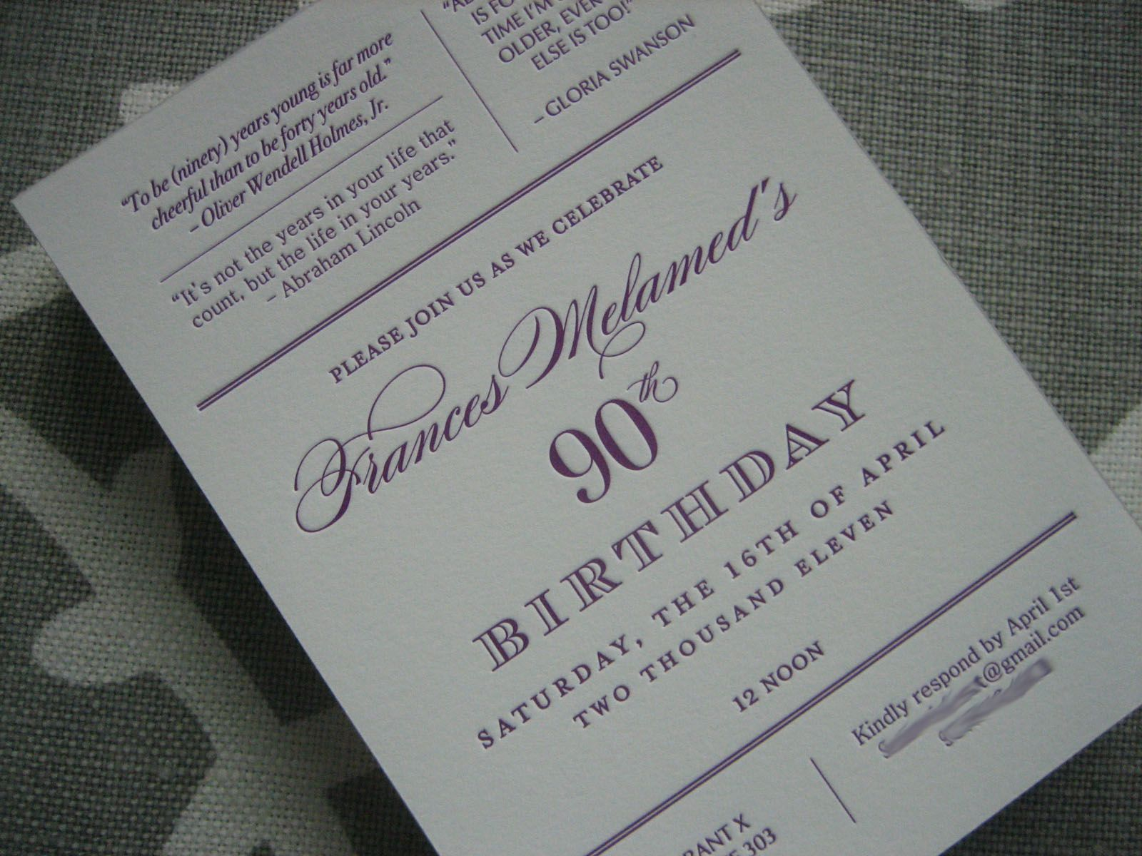 Navy bean letterpress 90th birthday invitations parties navy bean letterpress 90th birthday invitations filmwisefo Images