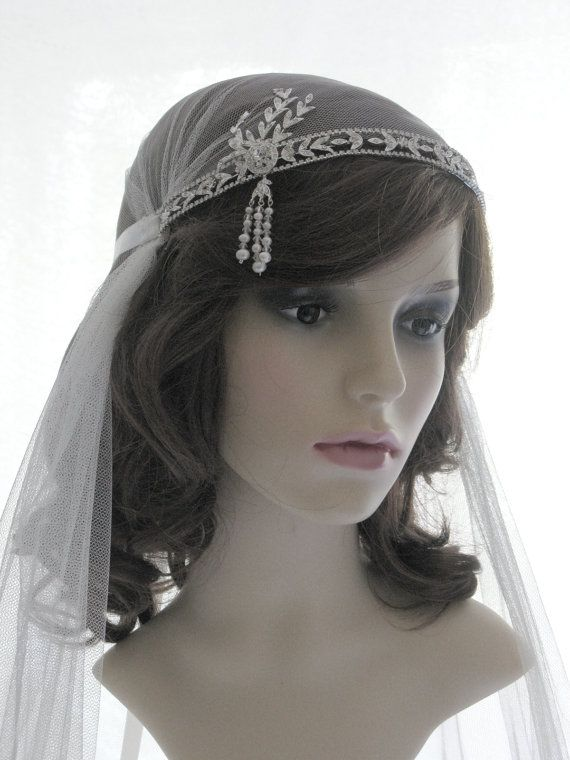 24eeb836 Great Gatsby style veil - couture bridal cap veil -1920s wedding veil -  Savoy Maybe this, but instead of rhinestones, blackend brass and green  stones to ...