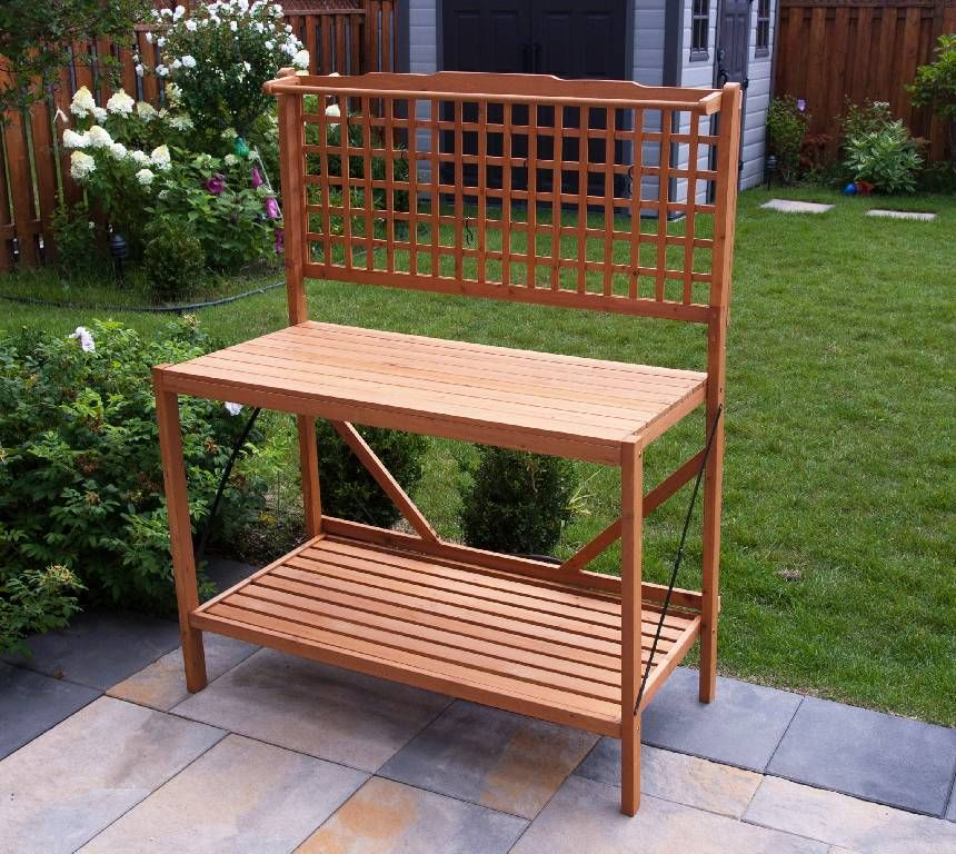 Garden Potting Bench Ideas Part - 42: Accessories, Folding Potting Bench Amazing Beautiful For Decorating The  Garden Simple And Good Looking Attractive Excellent Bench For Put Palns And  Flowers ...