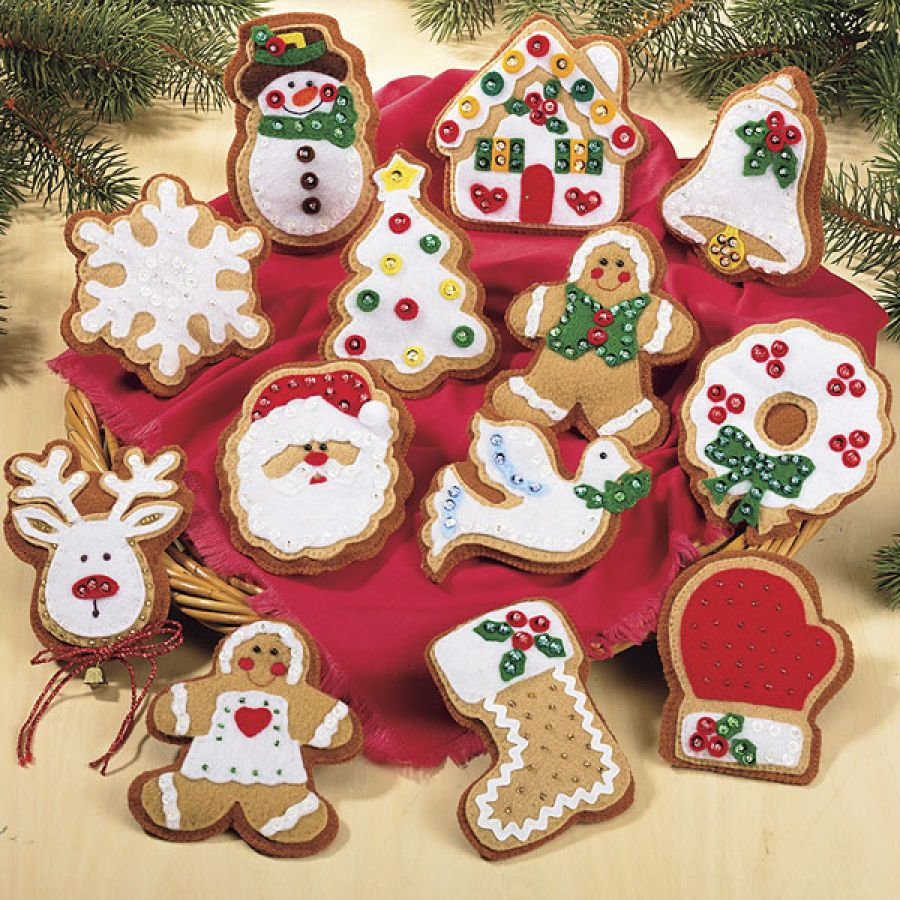 Gingerbread Cookie Ornaments Cross Stitch, Needlepoint