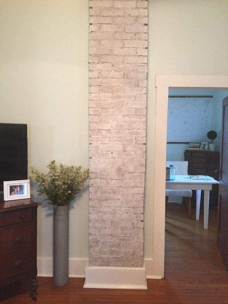 Exposing And Whitewashing A Brick Chimney Brick Chimney Chimney Decor Guest Bedroom Remodel