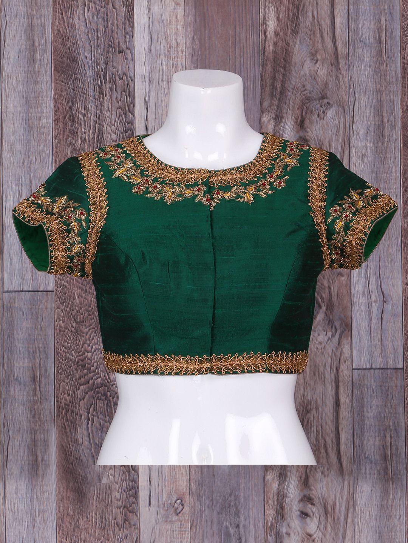 9ac1f4dc0fb4d6 Wonderful Silk Green Ready Made Blouse