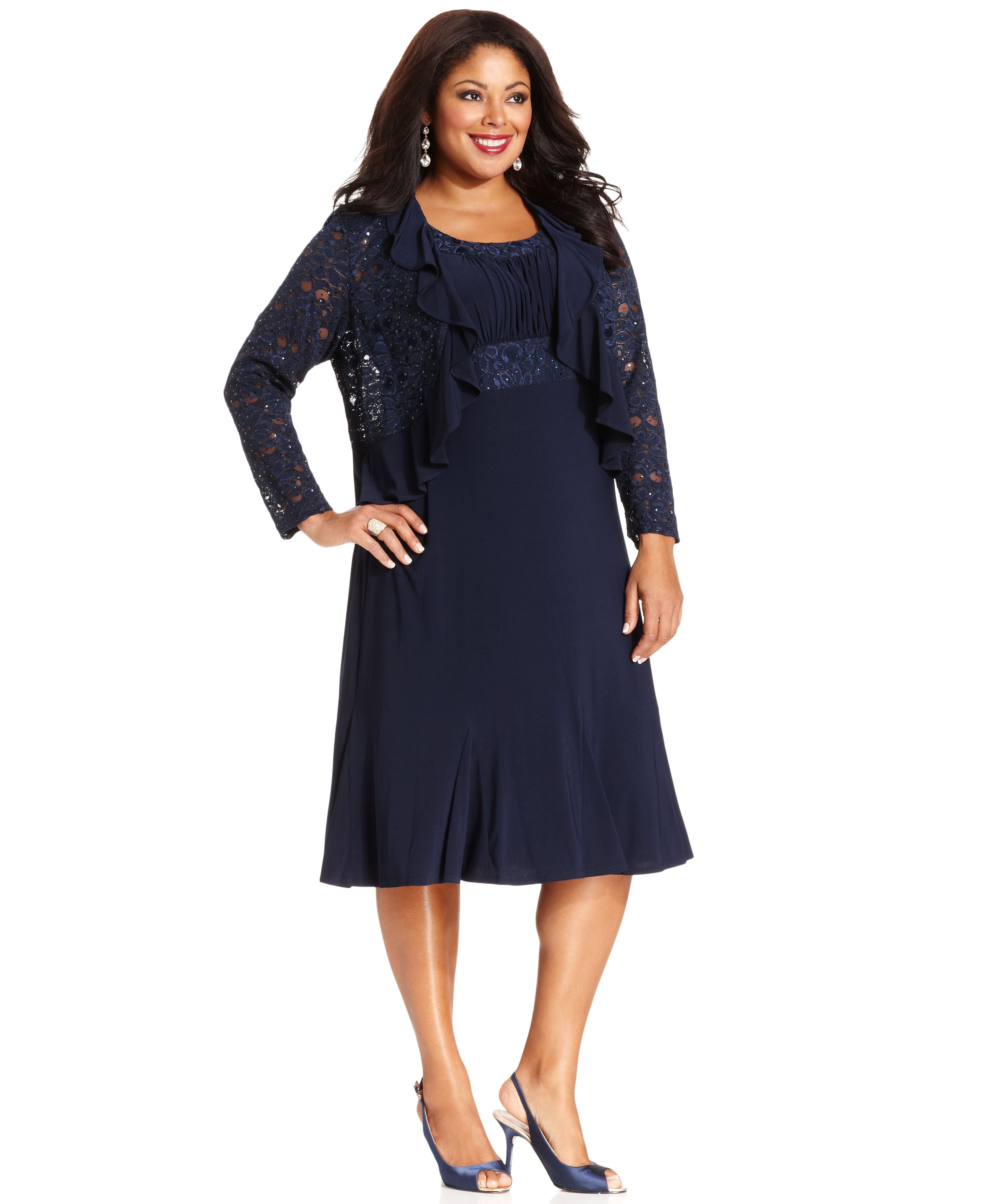 R&M Richards Plus Size Sleeveless Embroidered Dress and ...