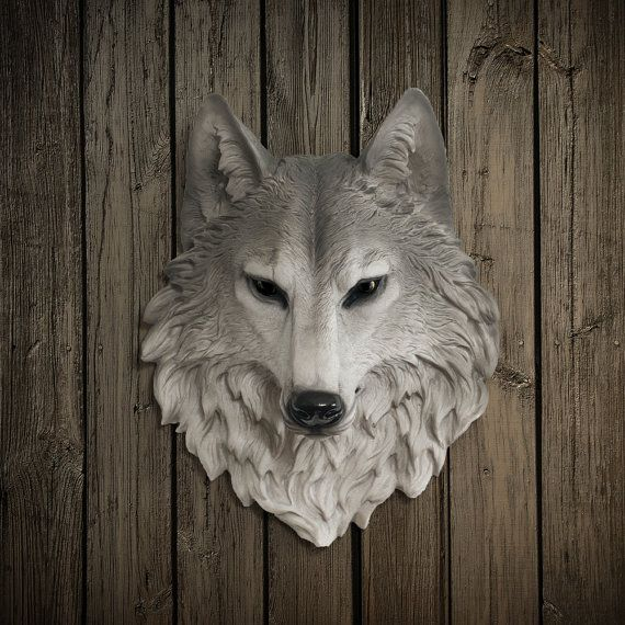 Wolf Head Faux Taxidermy - The Sierra - Natural Resin ...