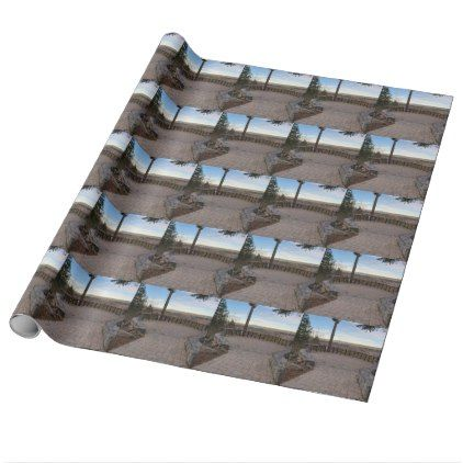 Garden Stone Brick Paver Patio View Deck Wrapping Paper