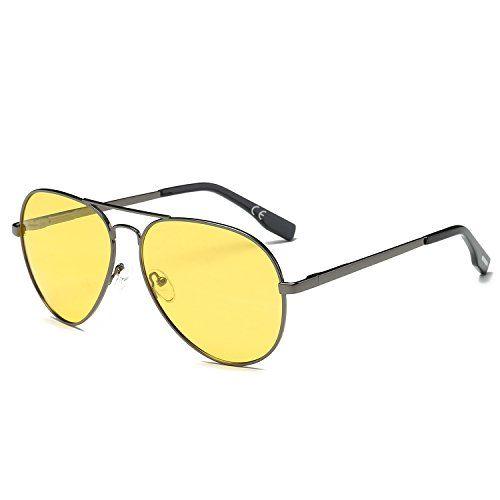 76cf1d4668 AMZTM Noche Conducción Clásico Moda Polarizadas Aviador Gafas De Sol De  Mujer Y Hombre Puente Doble