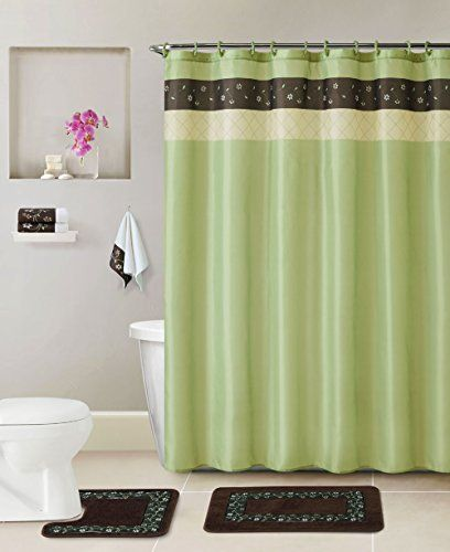 Bathroom 17 Pc Set Bath Rugs Shower Curtain Rings Hand Towels Sage Green Brown Floral You Can Fin Shower Curtain Decor Laundry Room Layouts Shower Curtain