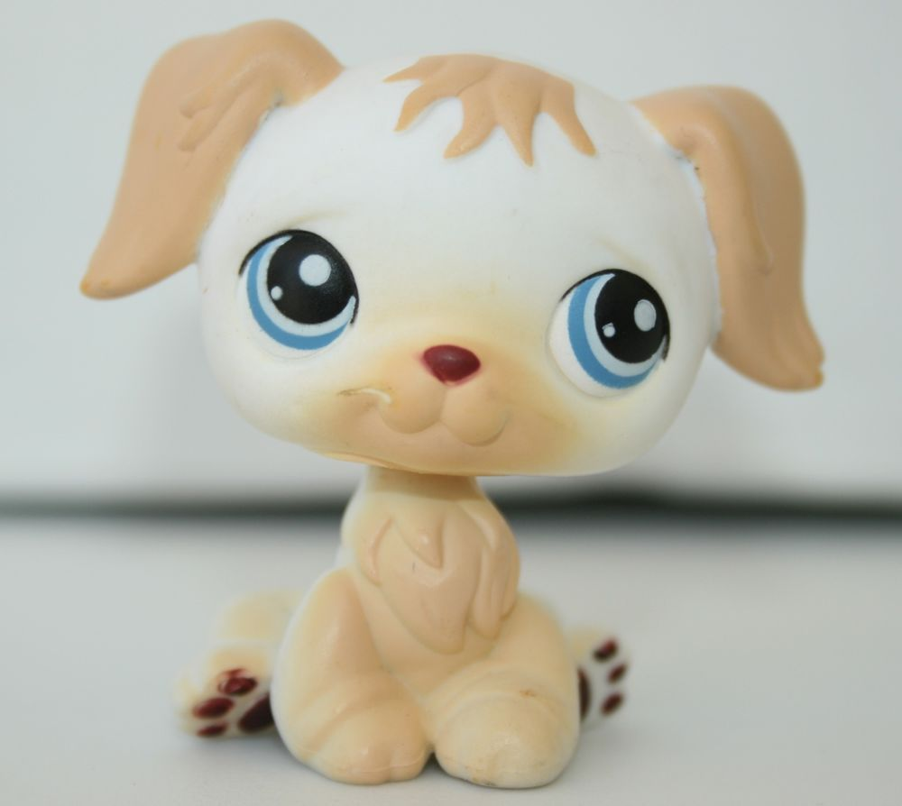 Littlest Pet Shop Lps 140 White Tan Golden Retriever Dog Blue