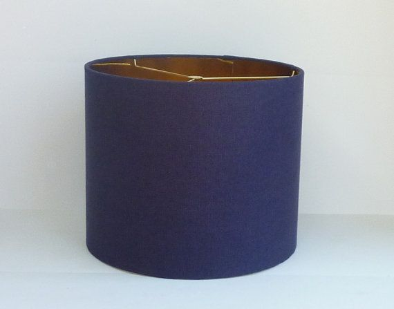 Drum Lamp Shade In A Gorgeous Navy Linen With Gold Lining Client Of Mine Suggested This Combination And I Love It The Is So Clic