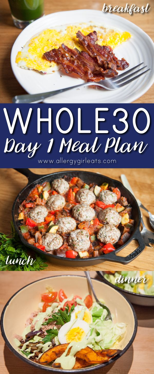 Whole30 Day 1 Meal Plan - Breakfast: Bacon & Eggs, Lunch: Ratatouille & Meatballs, Dinner: Bliss Bowl