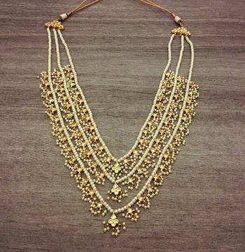 Kundan and pearls high end gold plated teen lada necklace Teen