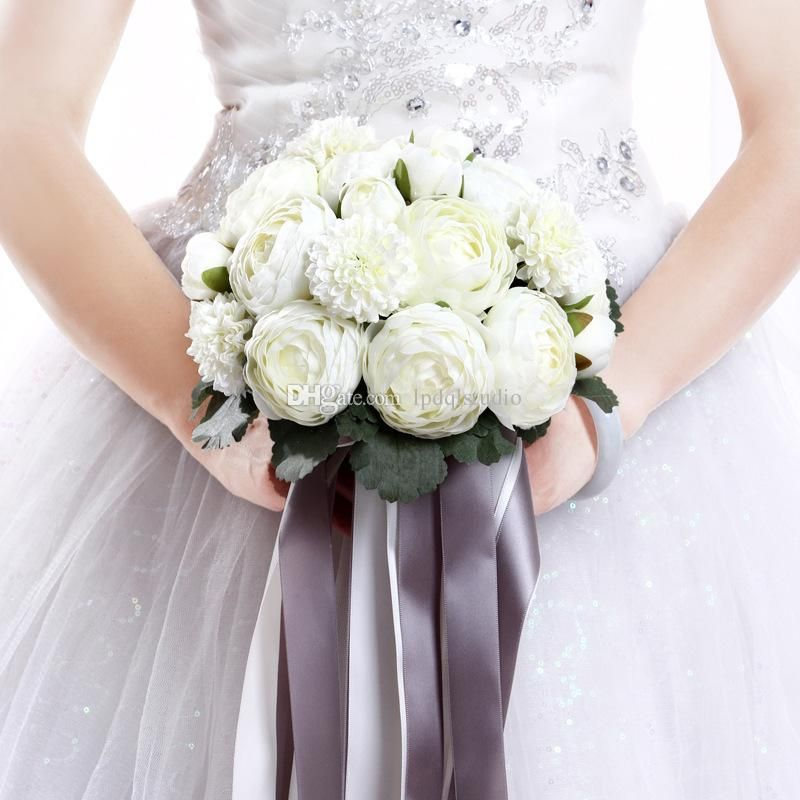 Ivory With Gray Bridal Bouquets New Arrival Bridal Wedding Flowers 23 24cm Cheap Wedding Acces Bridal Bouquet Peonies Gorgeous Wedding Bouquet Wedding Bouquets