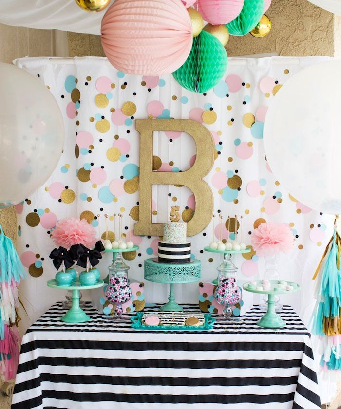 Cue the confetti themed party candy bar pinterest for Baby confetti decoration