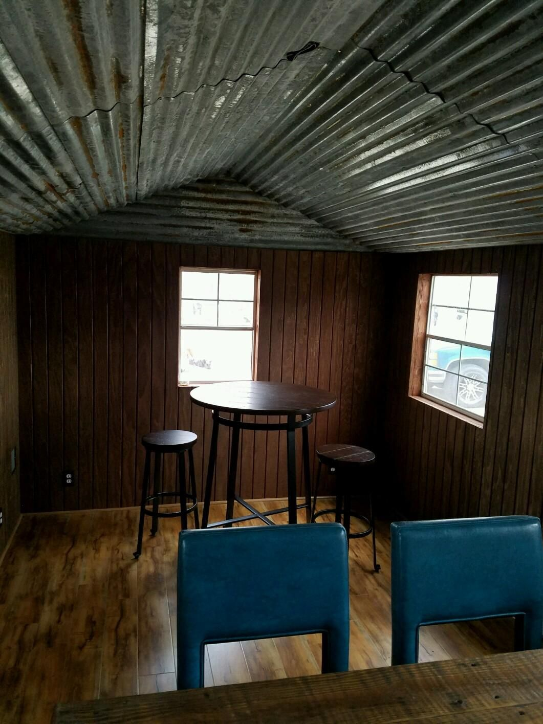 Home Bar She Shed Corrugated Tin Ceiling Pub Shed Shed Ceiling Ideas Backyard Shed Bar Ideas Remodel Bedroom