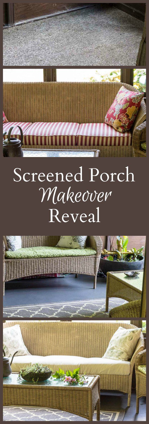 A few diy projects and a beautiful patio pond are the key to this much needed porch makeover, transforming it from old and outdated to fresh and serene.