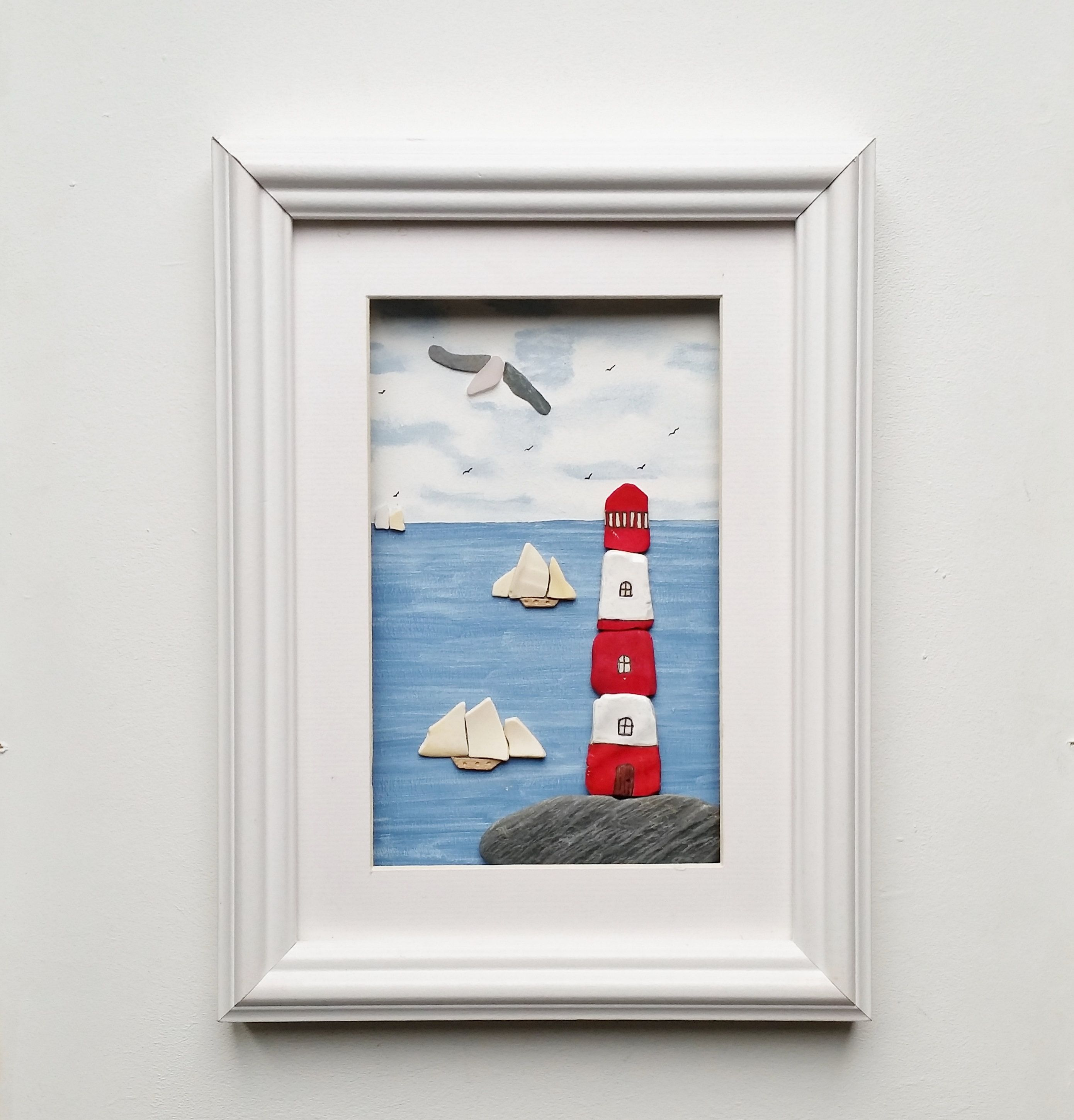 Lighthouse And Tall Ships Quirky Wall Art Nautical Decor Beach