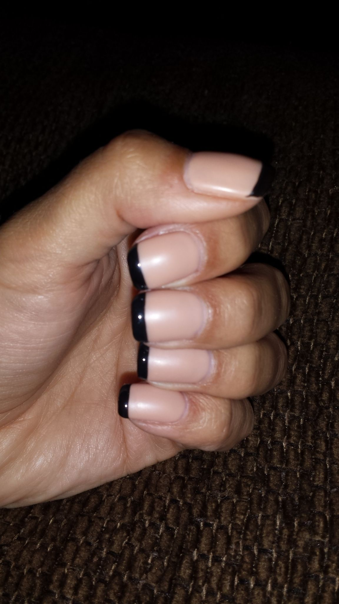 No chip french manicure - matte beige with shiny black tips...a ...