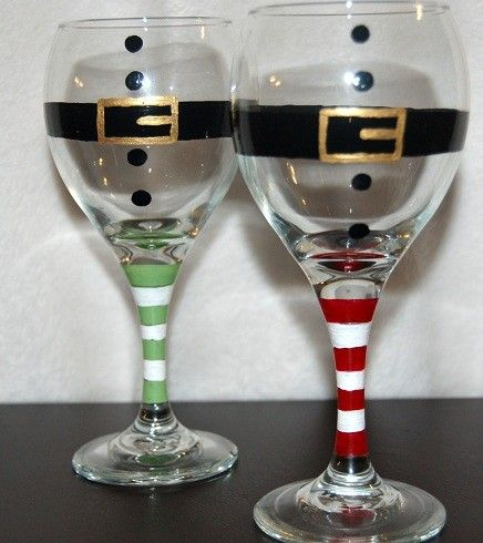 Christmas wine glasses set of four red santa glasses for Holiday wine glass crafts