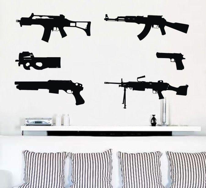 Gun Pattern Removable Wall Art Decal Vinyl Sticker Mural Home - Custom gun barrel stickersgun decals shotgun barrel sticker shooting ammo decal
