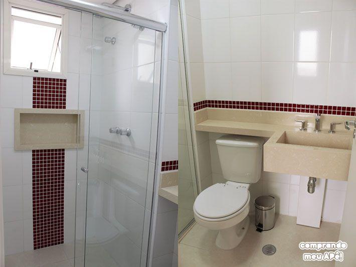 Ideia boa no comprando meu apê! Meu banheiro (suíte) com pastilhas adesivas  -> Meu Banheiro Moderno