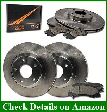 Max Brakes Front /& Rear Premium XDS Rotors and Ceramic Pads Brake Kit KT190433-1