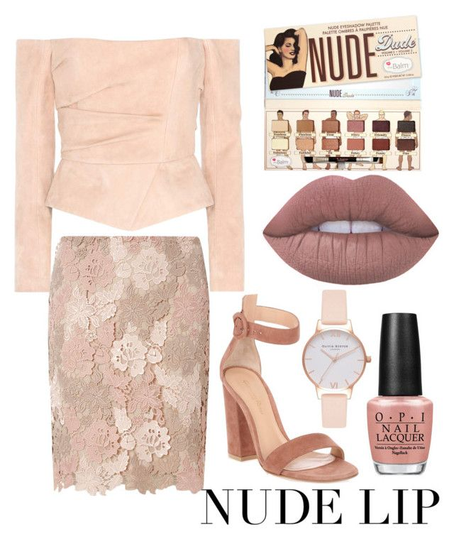 """Nudes"" by thepainted-lady on Polyvore featuring beauty, Lime Crime, Balmain, Gianvito Rossi, Dorothy Perkins, OPI, Olivia Burton and nudelips"