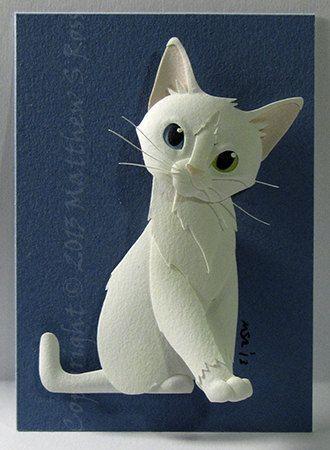 Mini Paper Cat Sculpture by Matthew Ross