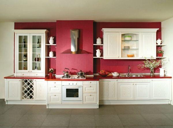 Küchenrenovierung weiße Küchenschränke rote rückwand | küche ...