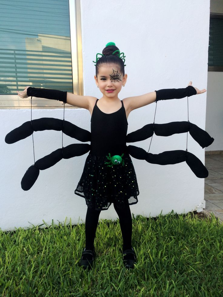 Spider Costume baby girl toddler kids DIY (tights and an old