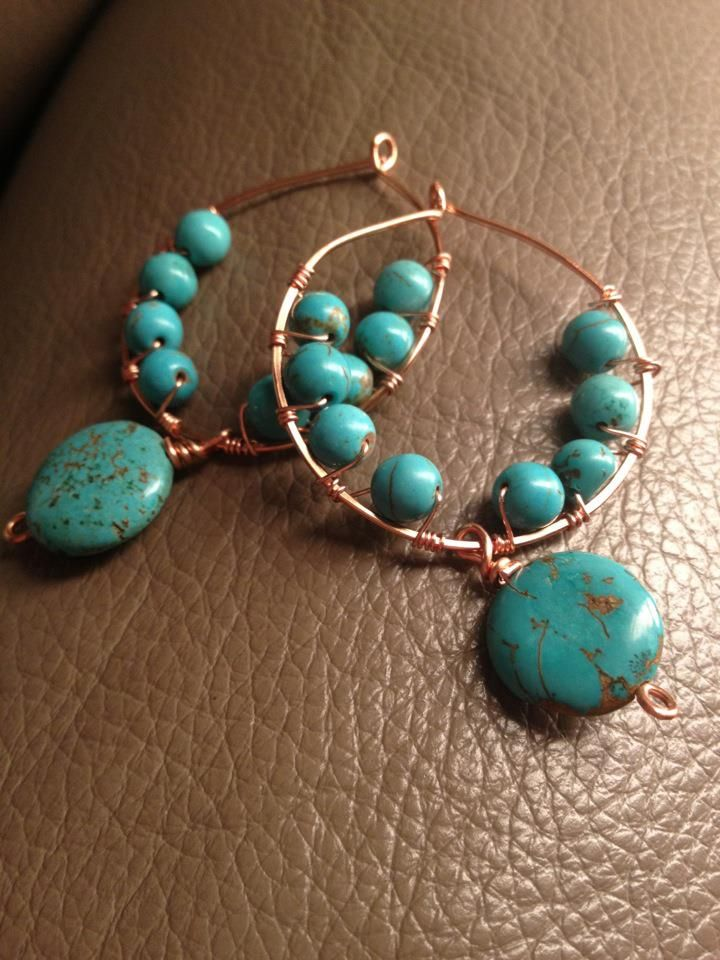 turquoise and copper hoops by Jilly @ Jillypea Jeweley