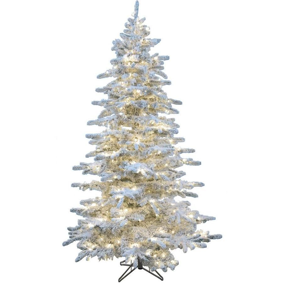 Christmas Time 6 5 Ft Pre Lit Slim Flocked Artificial Christmas Tree With 450 Multi Function Warm White Led Lights Lowes Com In 2020 White Flocked Christmas Tree Flocked Christmas Trees Slim White Christmas Tree