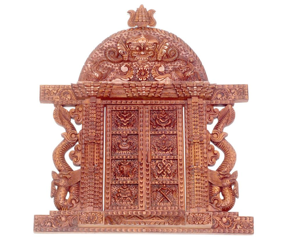 Exquisite Hand Carved Wood Asthamangal Door Pediment Hanging Wall ...