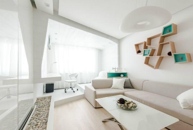 Wohnzimmer Modern Einrichten Kleiner Raum Weiß Creme Türkis Akzente